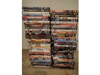 Job lot of 68 DVDs mixture of comedies and action and adventure.