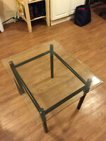 Bevelled Glass and Metal Side Table Set