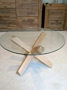 NEW Glass Round Coffee Table - Solid Oak Legs Comes Black/Natural