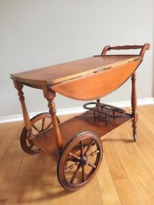 Charming Vintage Drop Leaf Tea Cart Table Rolling Wagon Bar