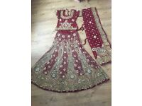 Red and gold with green bridal wedding lengha