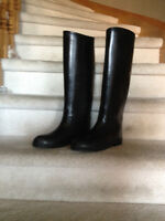 Ladies Auken Black Rubber Riding Boots