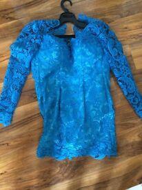 Blue lace mini dress