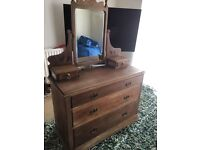 Beautiful stripped pine chest of drawers / dressing table