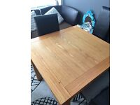 Solid oak square extending table