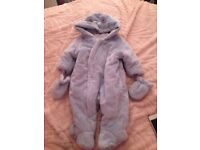 Baby snowsuit with matching mittens