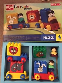 Train set blocks with figures as new by peacocks