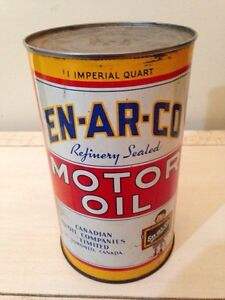 Antique Enarco Imperial quart motor oil tin can gas pump sign