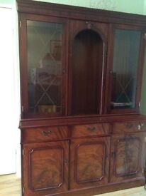 Mahogany Display Unit with Light - Good Condition