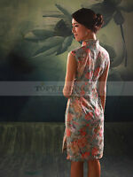 Pure Cotton Short Retro Cheongsam with Patterned Hibiscus