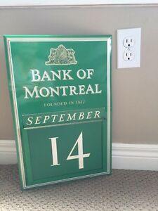 Vintage Bank of Montreal Metal wall calendar