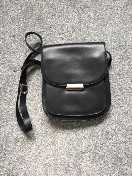 New Navy Leather Clinkards Shoulder Bag