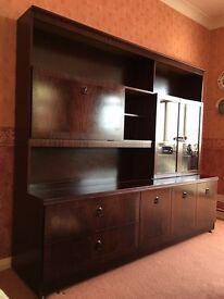 Mahogany wall unit/ display cabinet