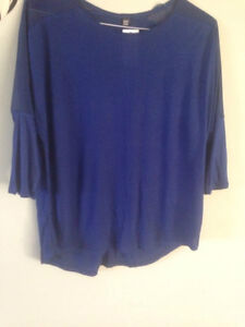 Ladies' loose royal blue top, brand new w tags, size L