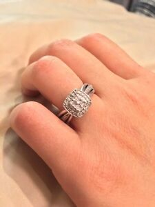 Engagement Ring Sterling Silver Diamond Accent $90 OBO Size 5