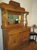 Beautiful Maple Antique Hutch and Buffet