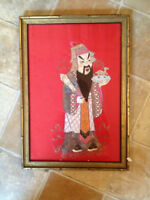 ANTIQUE CHINESE EMBROIDERED SILK PANEL  EMBROIDERY FRAMED