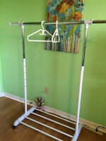 Clothing Rack with Shoe Rest