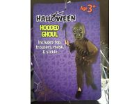 Halloween Hooded Ghoul with Top, Trousers, Mask & Sickle - Age: 8 (approx)