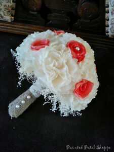 Ivory & Coral Coffee Filter Bridal Bouquet/ Rustic Wedding Belleville Belleville Area image 3