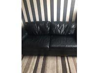 3&2 black leather settee