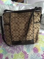 Sacoche COACH beige et brune / COACH beige and brown purse