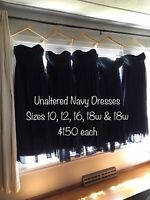 Unaltered Never Worn Chiffon Long Navy Blue Bridesmaid Dresses