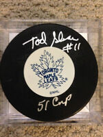 Tod Sloan Toronto Maple Leafs Autographed Puck w/ 51 Cup Ins COA