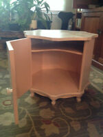 End tables, solid wood, stained pink