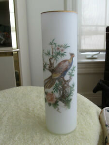 ...TALL and VERY ELEGANT OLD VINTAGE FROSTED SATIN GLASS VASE...