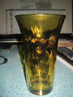 Vintage Amber Glass Vase with Frosted Edge