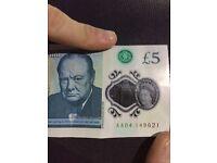 "Rare 5 pound note ""AA04"""