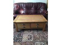 Rustic Solid Oak Coffee Table with Drawer Storage