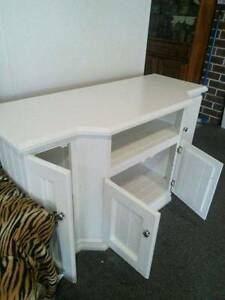 PINE TV UNIT, PAINTED WHITE-GLASS TOP Blaxlands Ridge Hawkesbury Area Preview