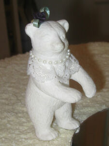 MINIATURE WHITE CERAMIC MRS. BEAR COLLECTIBLE