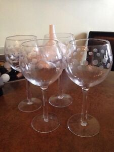 Various Home Items - wine glasses, creamer, pictures, clock