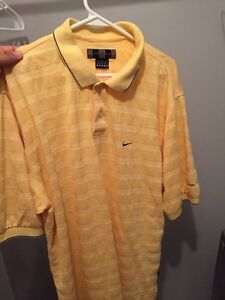 Nike Golf Dri Fit yellow striped Large t-shirt