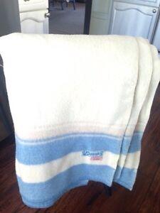 """Eatonia"" (Eaton's Brand)100% Wool BLANKET, cream/blue, $45"