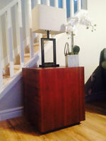 Two Solid Teak Wood End Tables