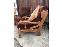 Solid Wood Cushioned Armchair