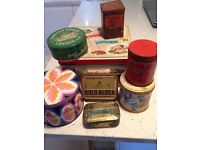 Selection vintage tins