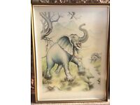 Oriental Indian water colour painting picture of elephants £12 Ono