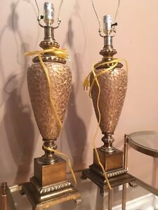 A pair of gold table lamps London Ontario image 7