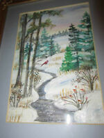 Small Original - Watercolor Artist Signed - Winter Scene