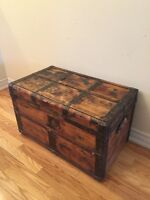 Antique Wooden Trunk -1890's- makes a Unique Coffee Table