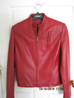 LADIES CHERRY RED LEATHER JACKET