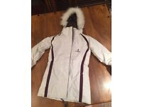 Ladies xs fitted ski jacket with faux fur hood