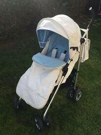 White leather pushchair