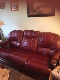 Burgundy leather 3 seater sofa and 2 chairs