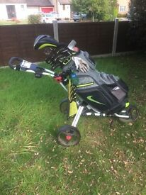 Full Nike Vapor Golf club set and bag with push trolley